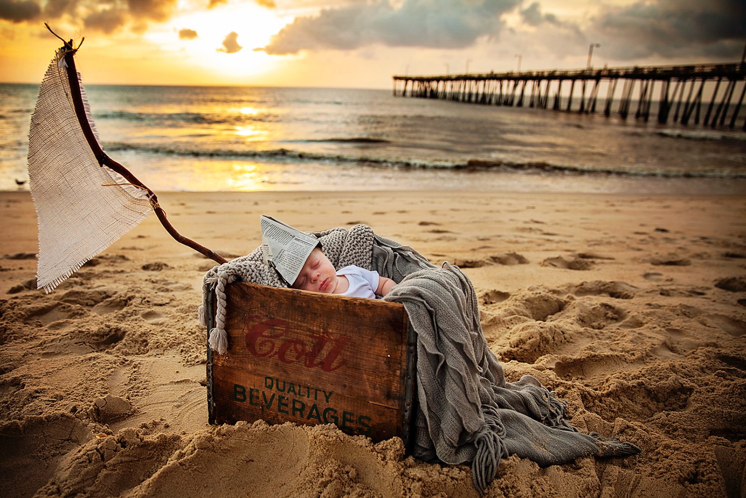 newborn boy sailor photography outer banks