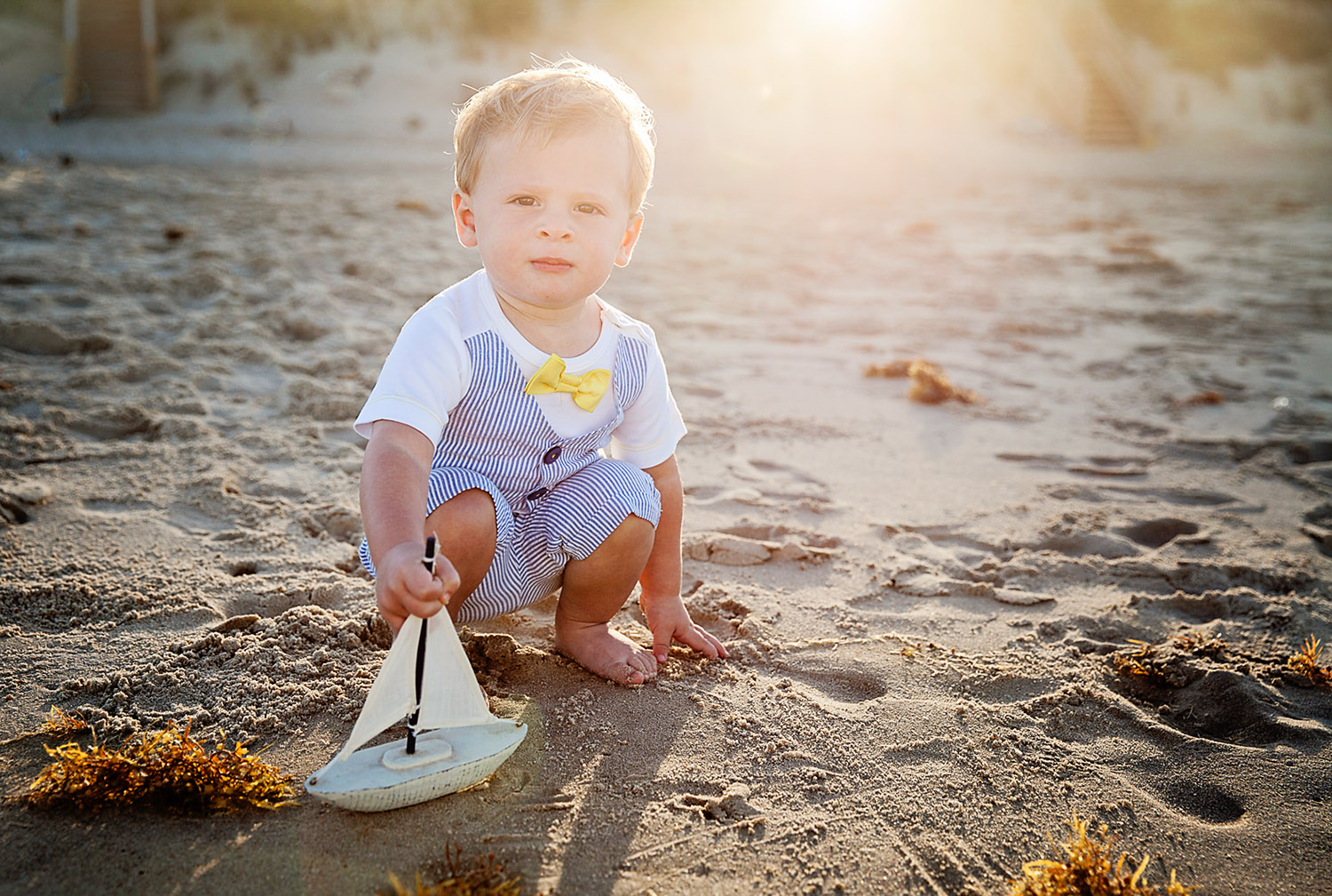 Backlit toddler at the beach in Duck NC
