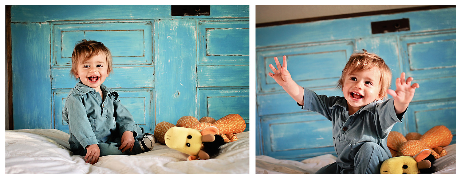 Toddler boy photo with blue headboard