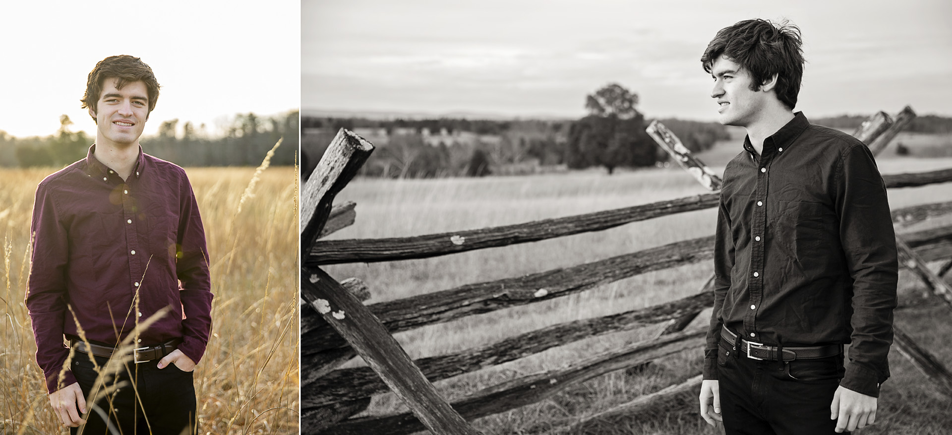 Senior boy portrait, Manassas Battlefield, VA